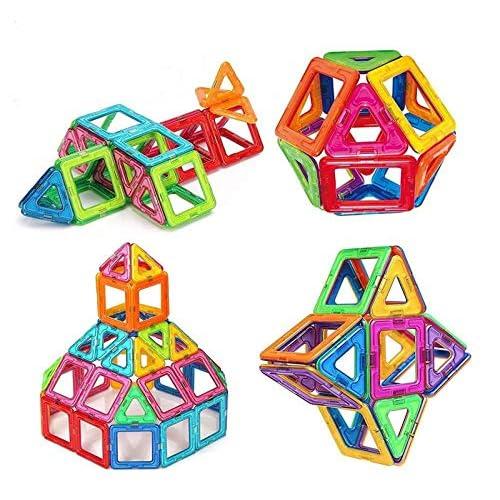 64 Pezzi Piastrelle magnetiche Blocchi di Costruzione Giocattoli educativi impostati per i Bambini, da Set di Costruzione di Costruzione Morcare (64 PCS)