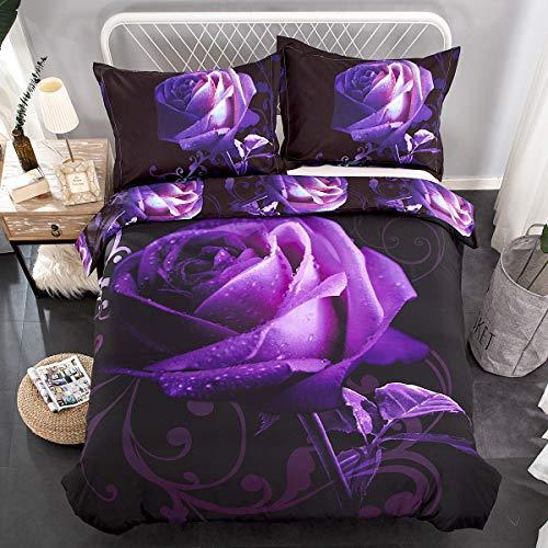 Purple Duvet Cover Set King Reversible Purple Rose Printed Bedding Quilt Cover with Zipper Closure, 3 Pieces (1 Duvet Cover + 2 Pillow cases), Soft Lightweight Microfiber 230x220cm