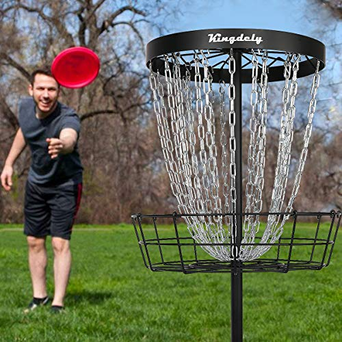 Disc Golf Basket Target -24 Chains, Frisbee Golf Practice Basket, Metal Golf Goals Baskets with Ground Stakes (2021)