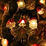 Christmas String Lights, 10 ft 30 LED Christmas Lights Santa Claus Hat Jingle Bell USB/Battery Operated String Light with Remote Controll and Timer for Christmas Party/Tree/Wreath Decor