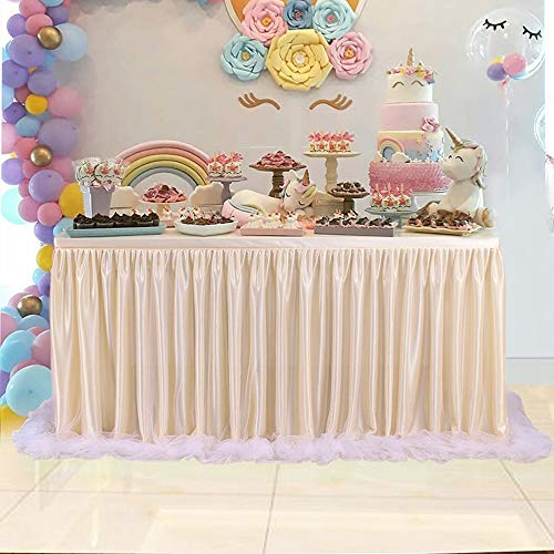 Jackeylove Table Skirt Table Cover Cloth Skirting for Wedding Christmas New Year Party Valentines Day Baby Shower Birthday Cake Table Girl Princess Party Decor