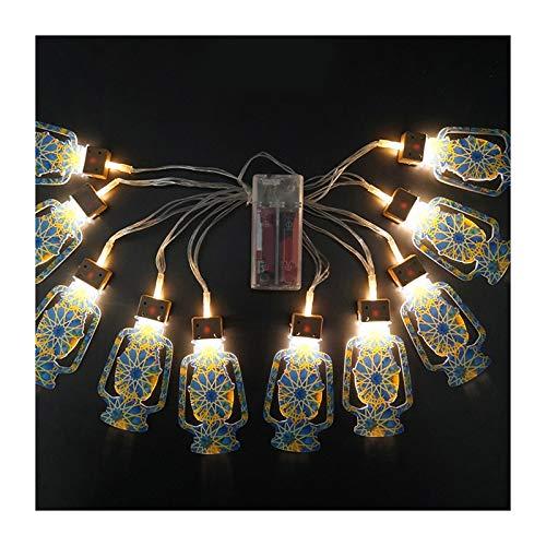 Eid Mubarak hecho a mano alambre 10 LED cadena de luz 2 m Eid Ramadán islámico fuente de batería interior hogar partido RDV