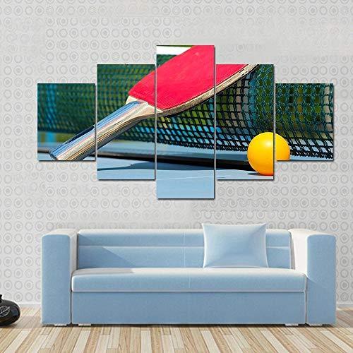 Cuadro Moderno Lienzo Decoración Raqueta tenis mesa y pelota en red Impresión artística Decoracion de Pared Moderno Impresión de Imagen Pósteres