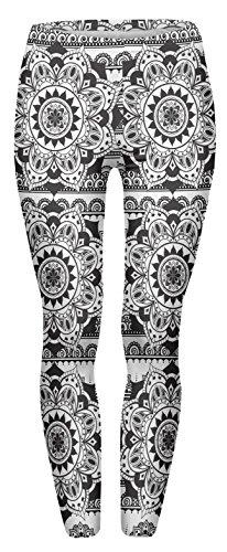 FRINGOO® Damen Yoga Printed Leggings Stretchy Workout Tights Running Gym Pants Base Layer 8 10 12 Gr. One size , Mandala Schwarz