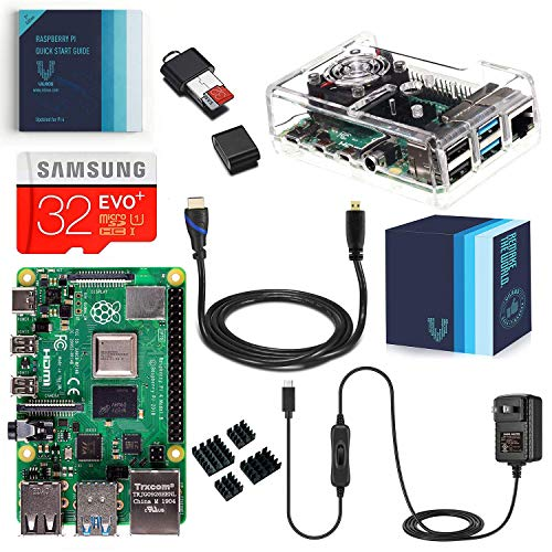 3. Vilros Raspberry Pi 4 Complete Kit with Clear Transparent Fan Cooled Case (4GB)