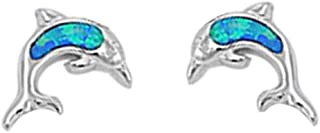 Cute Lab Created Opal Dolphin Stud .925 Sterling Silver Earrings COLORS AVAILABLE