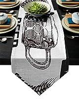 テーブルクロス ビュッフェキッチンテーブルランナー農家素朴なウェディングパーティーダイニングモノクロ表ランナーモダンな装飾 テーブルランナー (Size : 46x183cm)
