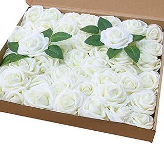 Amajoy Lot de 50 roses artificielles de couleur ivoire à l'aspect et au toucher naturel, pour des bouquets personnalisés d...