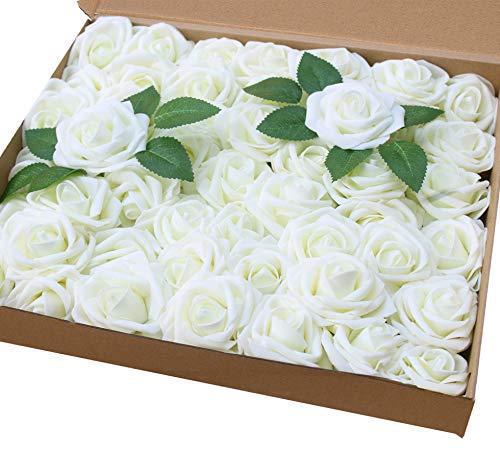 Amajoy - Rosas Artificiales de Color Marfil, 50 Rosas Artificiales de Tacto Real y 6 Hojas Artificiales para Ramos, Bodas, Fiestas, Baby Shower, decoración del hogar