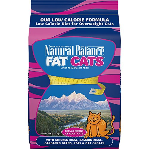 Natural Balance Fat Cats Low Calorie Dry Cat Food, Chicken Meal, Salmon Meal, Garbanzo Beans, Peas & Oat Groats, 6 Pounds