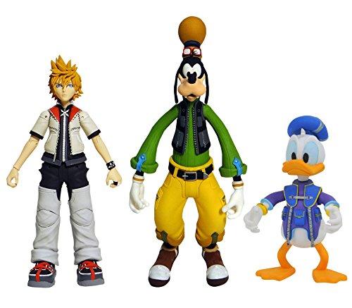 DIAMOND SELECT TOYS Kingdom Hearts Select Series 2: Roxas, Donald Duck, & Goofy Action Figure Set, (Model: SEP178690)
