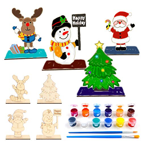 VKTEN 4Pack Christmas Crafts Paint Unfinished Natural Wood Arts & Crafts for Kids Christmas Ornaments for Boys Girls Christmas Party Favors