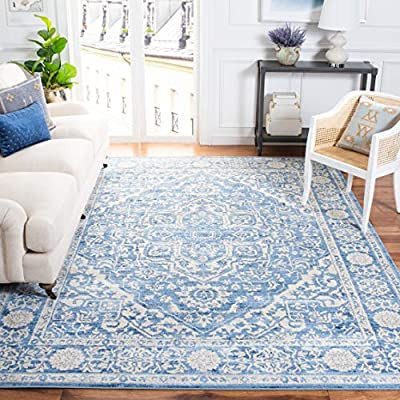 Safavieh Brentwood Collection BNT832A Medallion Distressed Area Rug, 8' x 10', Ivory/Navy