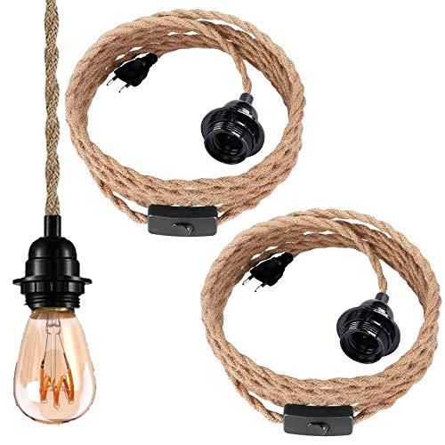 2er Pack Pendelleuchte Kit mit Schalter- Vintage Hängelampe mit 4.5 Meter gedrehten Hanfseil E27 Lampenfassung für Küche, Bar, Fundament, Bauernhof, Lager - Ohne Glühbirne [Energieklasse A++]