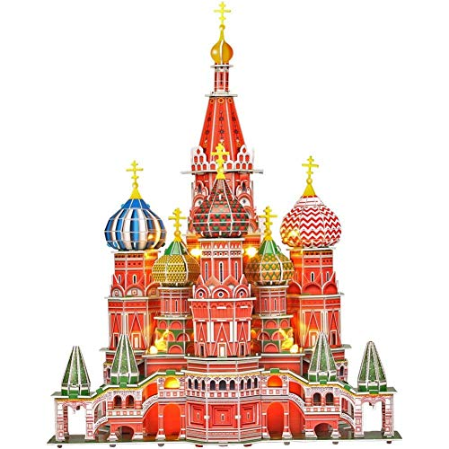 CubicFun 3D Puzzles Russia Cathedral LED Architecture Building Church Craft Model Kits Toys for Adults, St.Basil's Cathedral Lighting Up in Night