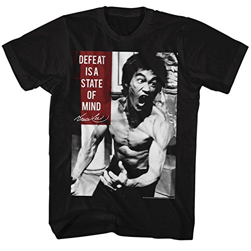 Bruce Lee Chinese Martial Arts Icon Adult T-Shirt Defeat is a State of Mind 5X Black