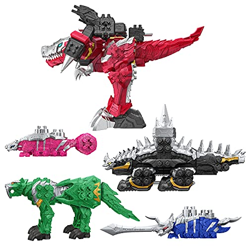 Power Rangers Dino Fury Megazord Mega Pack 5-Pack Zord Action Figure Toys for Kids Ages 4 and Up Zord Link Mix-and-Match Custom Build System (Amazon Exclusive)