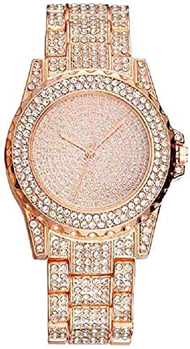 JZDH Mano Reloj Reloj de Cristal de Oro Rosa de Pulsera para Mujer Bling Bling Bling Steel de Acero Inoxidable Reloj de Pulsera de Cuarzo Lady Relojes de Lujo Reloj Mujer Relojes Decorativos Casuales