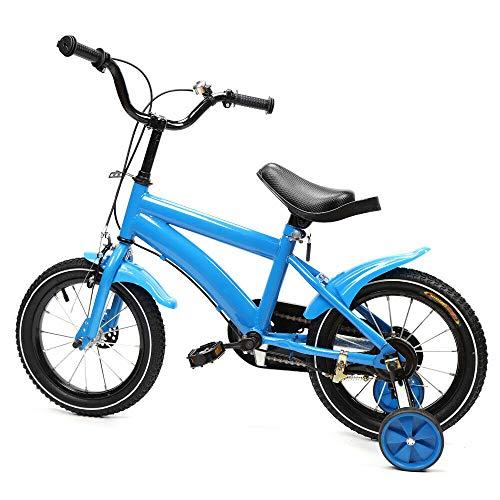Wangkangyi 14 Zoll Kinderfahrrad Jungen Mädchen mit Stützräder, Fahrrad für Kinder ab 3 Jahre, Fortgeschrittene Lauflernrad Unisex Bike, V-Break Bremse vorne, Stützräder, Luftbereifun