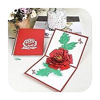 3Dポップアップカード女の子のためのバースデーカード子供妻夫のバースデーケーキグリーティングカードポストカード封筒ステッカー付きギフトカード-Peony-