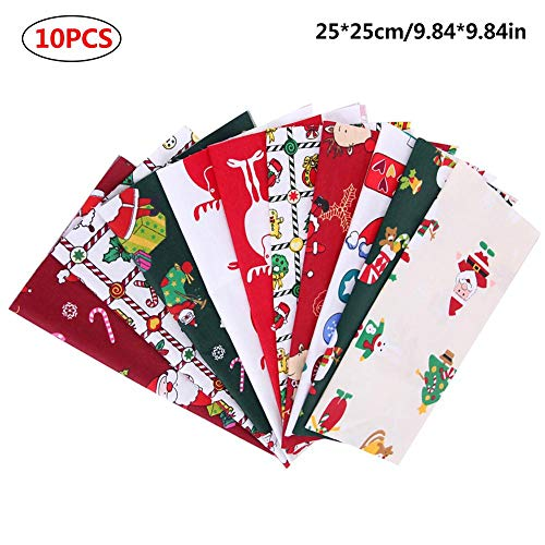 Navigatee Baumwollstoff Patchwork Stoffe DIY Gewebe Weihnachten Bedruckter Stoff Quadrate Baumwolltuch Stoffpaket Zum Nähen Mit Vielfältiges Muster 25 × 25cm