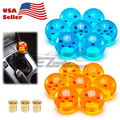 EZAUTOWRAP Universal Blue Dragon Ball Z 4 Star 54mm Shift Knob with Adapters Will Fit Most Cars