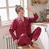 Mujer Satin Pijama Set - Conjunto De Pijamas con Botones De 2 Piezas Cardigan Ropa De Dormir A Rayas - Primavera Otoño Casual Tops De Manga Larga Pantalones Ropa De Dormir Ropa De Dormir, R