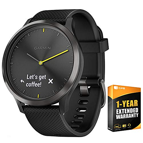 Garmin 010-01850-11 Vivomove HR, Sport, Black w/Black Silicone Band (Large) + 1 Year Extended Warranty