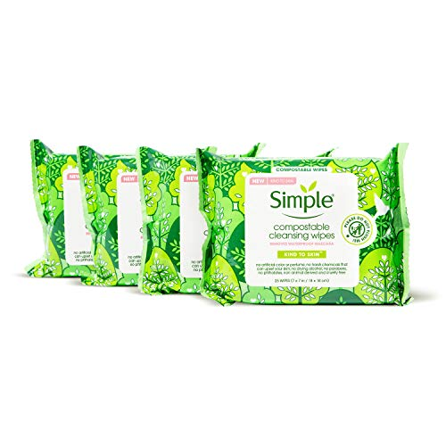 Simple Kind to Skin Cleansing Facial Wipes for Removing Makeup Compostable No Artificial Perfume or Color, Paraben Free, Phthalate Free 25 Count 4 Pack