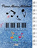 Piano music notebook Blue and white sparks digital wallpaper cover, 100 pages - Large(8.5 x 11 inches)