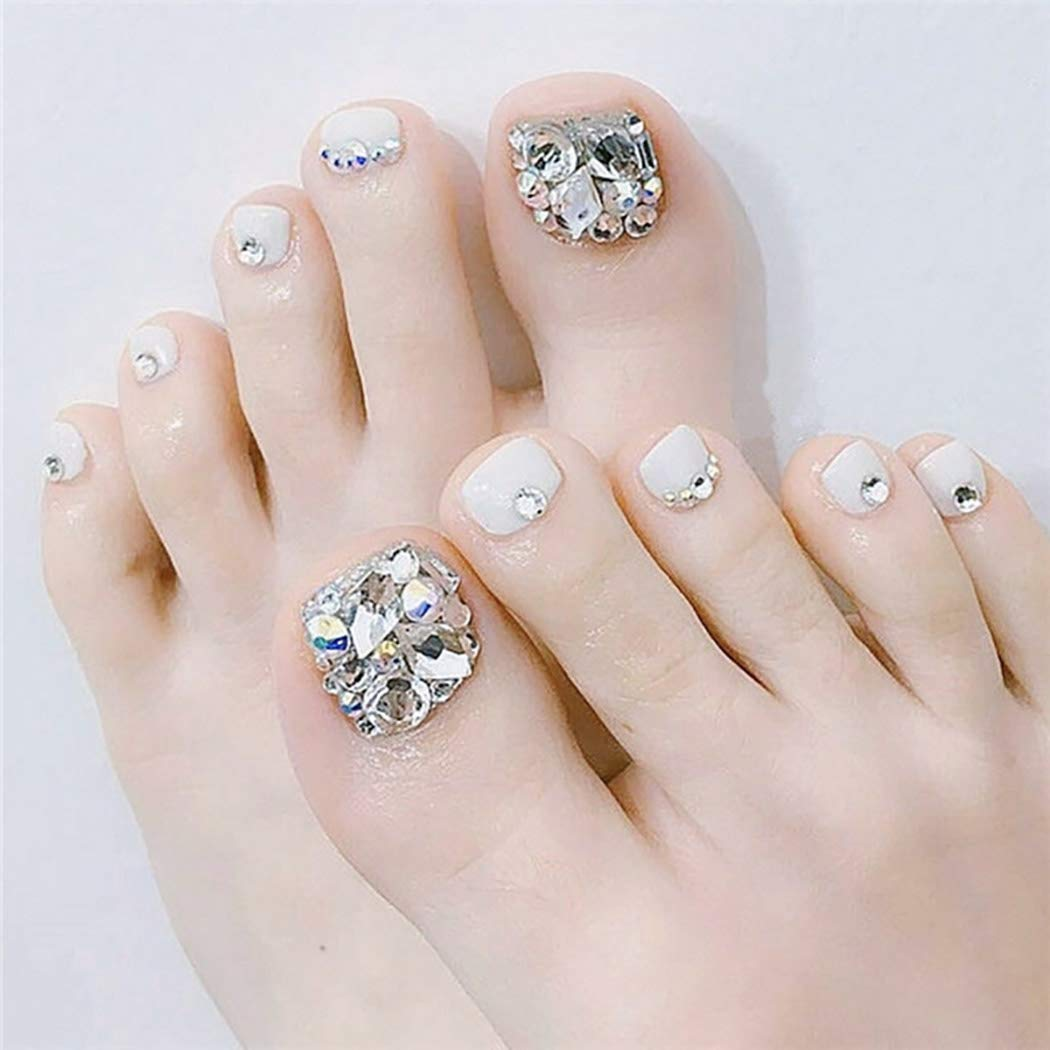 Fstrend Rhinestones Fake Toenails Max 70% OFF White Crystal False Tampa Mall Nails Toe