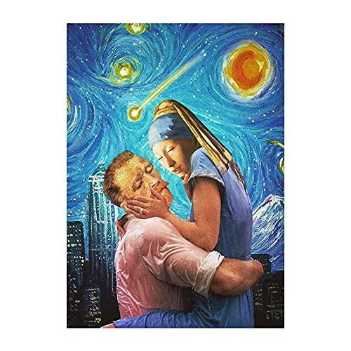 AJleil DIY Pintar por números Van Gogh y su Amigo Lienzo Abstracto Pintura Cuadro de Arte Moderno Kit de Pintura Digital con Pincel y Pintura acrílica Pintura al óleo40x60cm(Sin Marco)