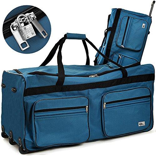 DEUBA Reisetasche | mit Trolleyfunktion | Rollen mit Kugellager | Teleskopgriff | abschließbar -【Farb-und Größenauswahl】 Sporttasche Reisetrolley Gepäcktasche, Blau, 160L = 85 x 43 x 44 cm (LxBxH)