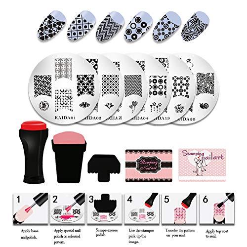 NAVSUMA 20pcs Stamping Nail Plates for Nails Art Stamping Kit Stamping Templates Nail Art Stamper...