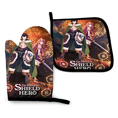 BLEOADEN The Rising of The Shield Hero Anime Kitchen Oven Mitts Set, Oven Mitts,Pot Holders (2-Piece Sets) - Pot Holder & Baking Gloves - Food Safe