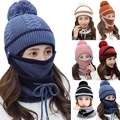 MEISHU 3 in 1 unisex inverno caldo berretto berretto sciarpa snood set pompon berretto per uomo donna, scaldacollo berretto per sci ciclismo (blu scuro)