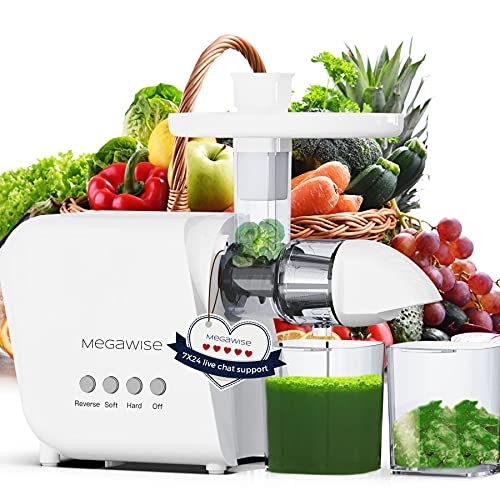 MegaWise Pro Slow Masticating Juicer, 95% Juice Yield & 9 Segment Spiral 2 Speed Modes Juicer Machines for Vegetables and Fruits, Cold Press Juicer Extractor