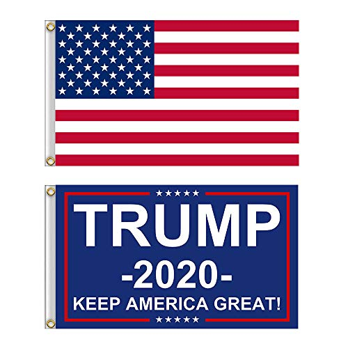 Shmbada American USA Polyester Flag and Trump 2020 Bule Flag with Brass Grommets, Double Stitched Vivid Color Anti Fading, Outdoor Yard Flag Kit 3x5 Ft, 2 Pack