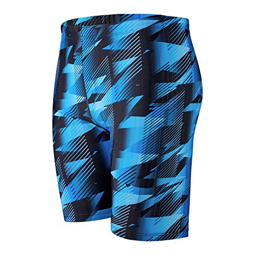 JOJO LEMON Swimming Jammers for Men Adult Boys Bathing Suits with Lined Spandex Swim Shorts Trunk Youth Quick Dry Racing Training Swimsuit Blue