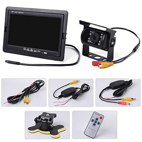 BW® Kit Voiture Vue arrière sans Fil : 17,8 cm de sécurité Moniteur LCD Rétroviseur de Voiture + télécommande + 18 LED Bus Camion Caméra de recul de Voiture avec émetteur sans Fil et receiever
