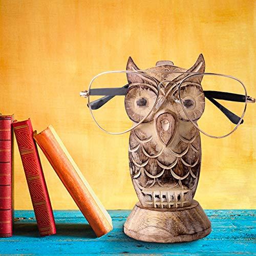 S.B.ARTS Brillenhalter aus Holz, handgefertigt, Eulen-Form, Weiß