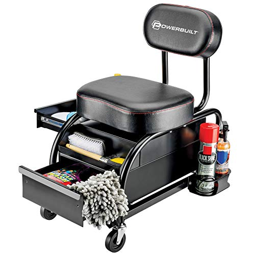 Powerbuilt Professional Car Detailers Mechanics Roller Seat, Heavy Duty Garage Stool with Thick Padded Seat and Backrest, 2 Sliding Storage Drawers, Tool Tray, Can Holders, 3in. Swivel Casters–240299