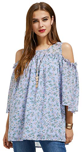 SONJA BETRO Women's Printed Floral Chiffon Cold Shoulder Ruffle Trim Elbow Length Bell Sleeve Tunic Top/Lavender/Tag Size 1X=XX-Large