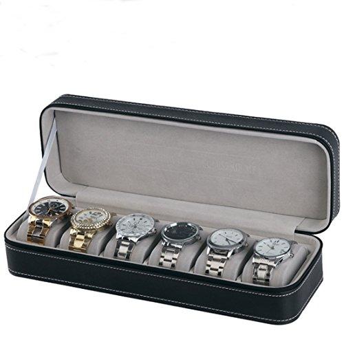 Homeater 6 Slot Watch Box Portable Travel Zipper Case Collector Storage Jewelry Storage Box(Black)