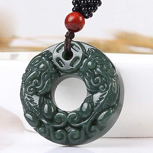 Doble de Feng Shui Pixiu Piyao collar colgante Sólo Hetian