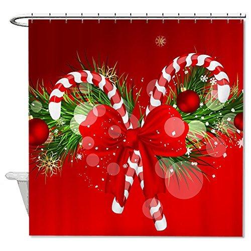rioengnakg Schimmelresistent Stoff Weihnachtsschmuck rot Polyester Duschvorhang wasserdicht, Polyester, #1, 66