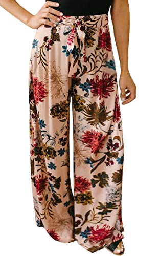 ECOWISH Women's Casual Floral Print Belted Summer Beach High Waist Wide Leg Pants with Pockets Pink Small