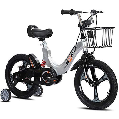 FYLY-Bicicleta Infantil con Ruedines de Entrenamiento, 18 Pulgadas Aleación de Magnesio Ajustable Bici con Caja Inteligente y Freno de Montaña, para Niños y Niñas de 8 a 9 Años,Plata