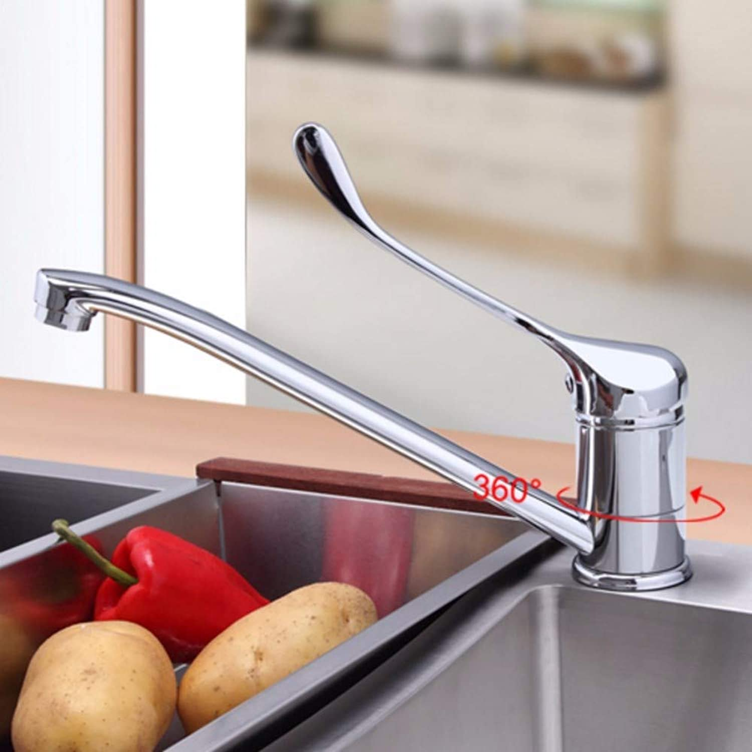 Faucet Kitchen Faucet Cold and Hot Water Mixer Chrome Tap Super Long Single Handle