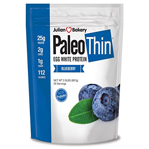 Julian Bakery Paleo Thin Protein Powder | Blueberry | 21g Egg White Protein | 2 Net Carbs | 1.85 LBS | 30 Servings